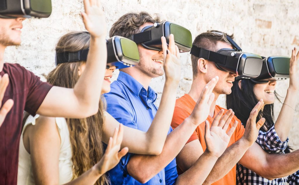 Group virtual reality escape room together, Team Building